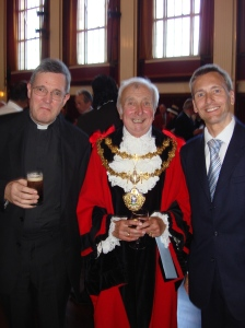 Rev John Findon Rector of Bury, The Mayor of Bury Cllr Peter Ashworth and David Nuttall