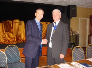 David with Councillor John Hudson Chairman NW Conservative Clubs
