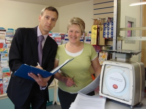David with Susan Stott Sub-Postmistress at Limefield Post Office