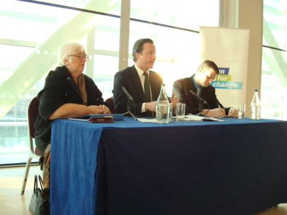 David Cameron MP taking questions from the audience