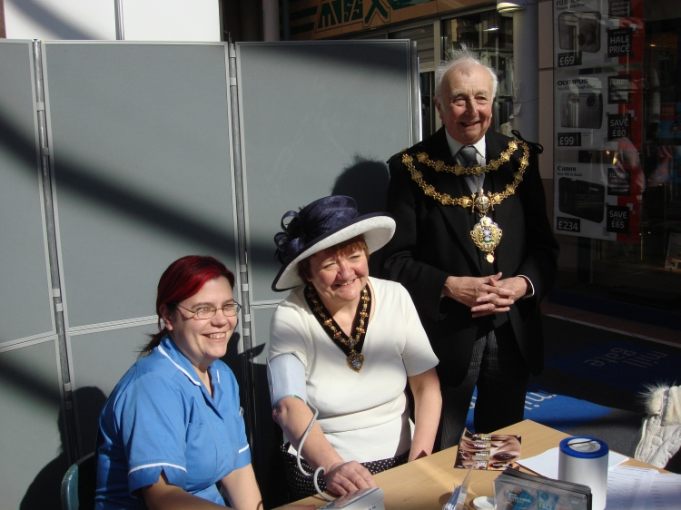 The Mayor and Mayoress of Bury before their blood pressure tests