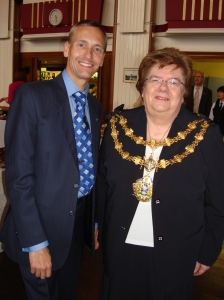 David with Mayor Councillor Sheila Magnall