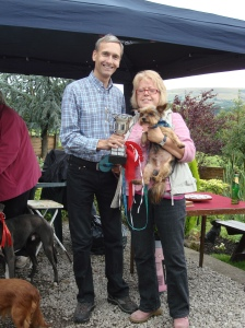 David presenting the Best in Show Cup to Ben with his owner Shirley
