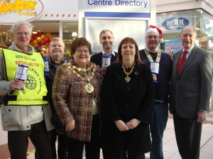Rotarians Rowland Lees and Tony McCarthy, The Mayor of Bury, David Nuttall, The Mayoress of Bury, President of Bury Rotary Club Rotarian Phil Emmott and Millgate Centre Manager Colin Nichol