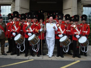 The Olympic Torch with the Lancashire Fusiliers Band
