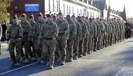 1st Battalion of the Royal Regiment of Fusiliers march through Bury