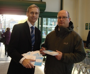 Cllr Ian Bevan and David Nuttall at Morrisons, Ramsbottom